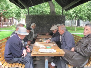 Backgammon im Park